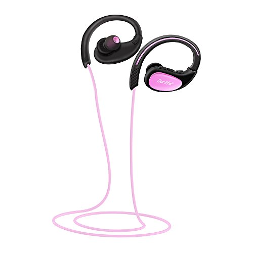 Ourlife Bluetooth Headphones, Wireless Headphones Sport w/Mic IPX5 Waterproof HD Stereo Sweatproof Earbuds for Gym Running Workout 8 Hour Battery Bluetooth V4.1 (Pink)