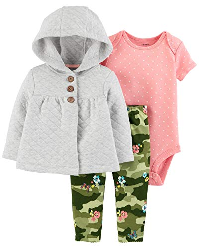3 Piece French Terry Jacket - Carter's Baby Girls' 3-Piece Little Jacket Sets (Heather/Pink/Green, 18 Months)