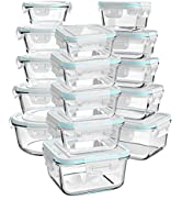 Luvan 30 Piece Glass Food Storage Containers with Lids, Glass Meal Prep Containers,Airtight Glass...