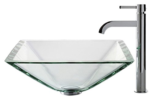 Kraus C-GVS-901-19mm-1007CH Clear Aquamarine Glass Vessel Sink and Ramus Faucet Chrome