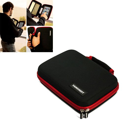 VIA8650 Hard Case ePad Tablet PC MID 7 inch Google Android 2.2 Vangoddy Harlin Reinforced Accessories Case with handle & Unique Device Friendly Velcro Usability – RED