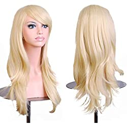 "28""Women's Hair Wig New Fashion Long Big Wavy Hair Heat Resistant Wig for Cosplay Party Costume (Light Blonde)"