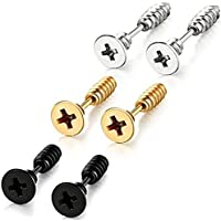 Chryssa Youree Stainless Steel Womens Mens Screw Stud Earrings Pierced Tunnel 3 Pairs 3 Colors (ED-41)