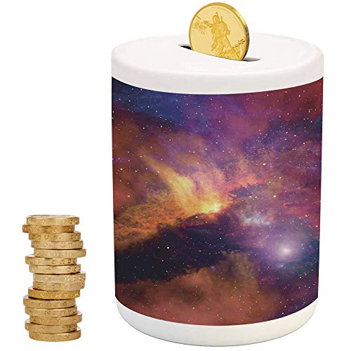 Space Decorations,Ceramic Girl Bank,Top Slot Porcelain Nursery Décor Baby Bank,Space Stars and Nebula Gas and Dust Cloud Celestial Solar Galacy System Print