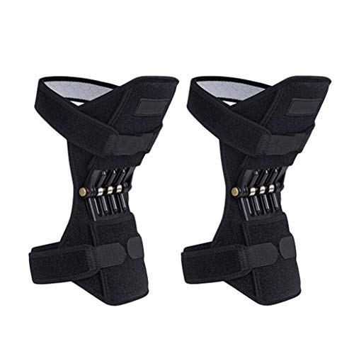 Amaping Spring Knee Pad Breathable Brace Rebound Booster Compression Sleeves Knee Protection Powerful Support Silicon Padded Bracket Patella Stabilizer Protector Joint Pain Relief (2 Horizontal Bars)