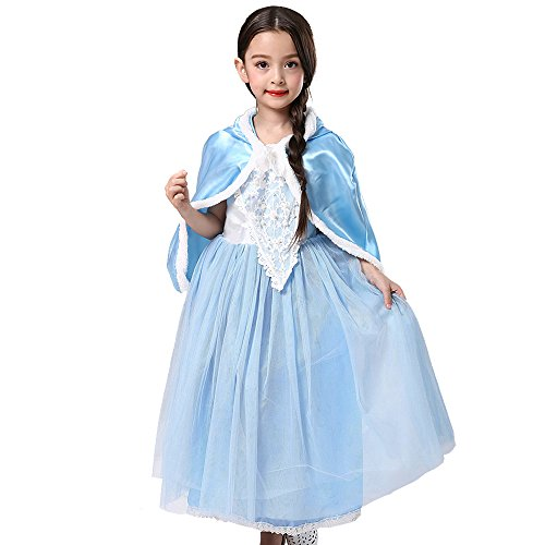 Abroda Girls Fancy Dress Party Outfit Princess Halloween Costume Cosplay Dress with Cloak