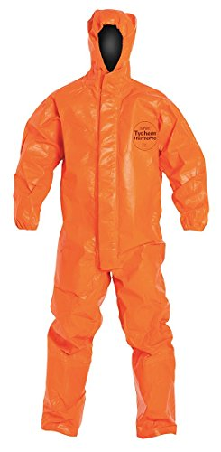 DuPont - TP198TORSM0002BN - Hooded Chemical Resistant Coveralls with Elastic Cuff, Orange, S, Tychem 6000 (Orange Hooded Coverall)