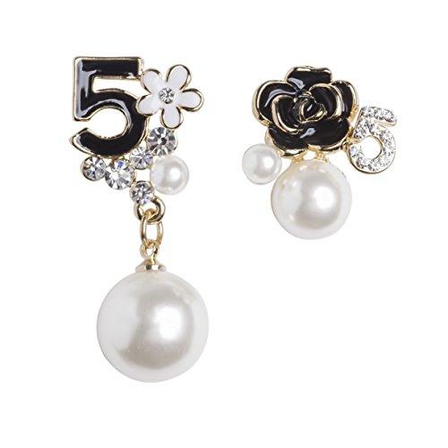 MISASHA Faux Imitation Pearl Floral Dangle Drop Earrings Studs (Black)