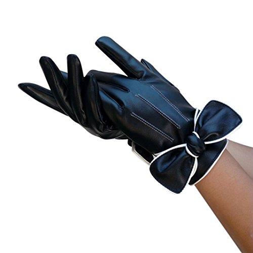Goenn 手袋 女性用 防寒 グローブ レディース 冬用 PUレザー 綺麗な蝶の飾り付き 保温 暖かい 防水 防寒 自転車 バイク アウトドア