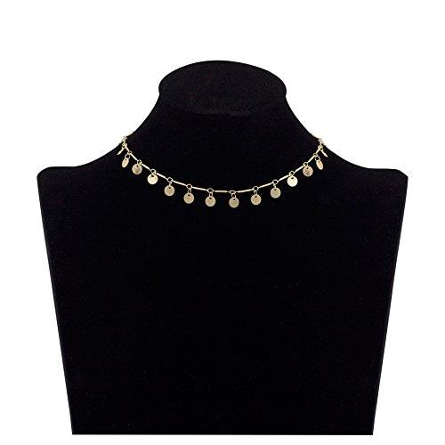 Zealmer Gold Coin Choker Necklace Simple Circle Disc Choker for Women Girls