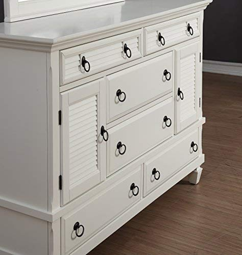 Roundhill Furniture Regitina 016 Bedroom Furniture Set, Queen Bed, Dresser, Mirror and 2 Nightstands, White by Roundhill Furniture