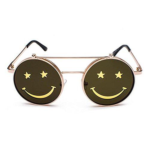 polarisé Jaune Rétro Hippie lunettes Smiley Rond Soleil UV400 Flip Style Punk de Non Cadre Or Vintage et Hellomiko Femmes Hommes OR6XxHqHwd