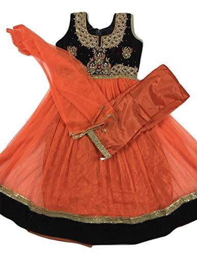 Girls Anarkali Suit Indian Gown Indian Wedding/Party Wear/Sangeet Dress (Orange, Size 32 Fits 8-9 YR)