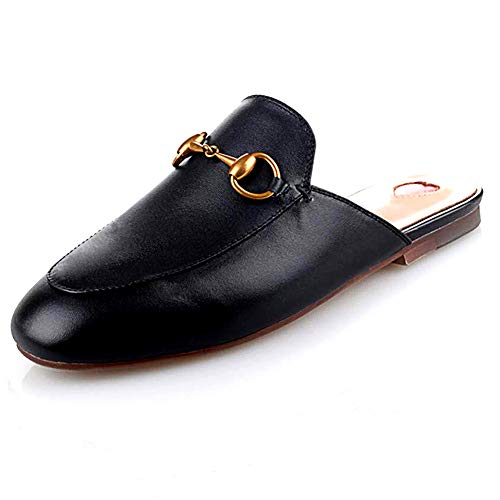 - GEEDIAR Leather Mules Women Shoes Mules Flats Shoes and Slides Backless Loafer Slip-on Slippers with Embroidery and Buckle Black Size 8