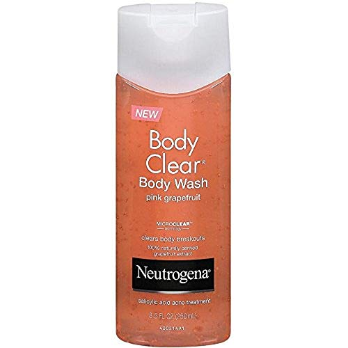 (Neutrogena Body Clear Acne Treatment Body Wash with Salicylic Acid Acne Medicine to Prevent Breakouts, Pink Grapefruit Salicylic Acid Acne Body Wash for Back, Chest, and Shoulders, 8.5 fl. oz)