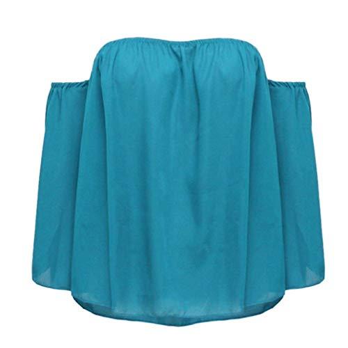 Manches Blue Blouse Plier Elgante E Uni Nu Mode a Manche Et paules Tops Femme sky Encolure Casual Chemise Dos Haut Chic Blouse sans Bateau Jeune Nues aXB1p4xqwE