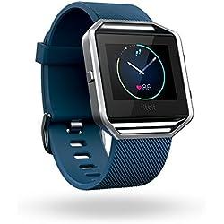 Fitbit Blaze Smart Fitness Watch, Blue, Silver, Large