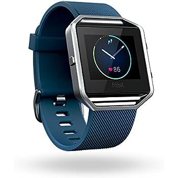 Fitbit Blaze Smart Fitness Watch, Blue, Silver, Large (US Version)