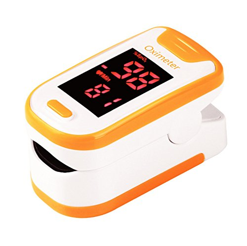 Fingertip Pulse Oximeter Oximetry Blood Oxygen Saturation Monitor with batteries and lanyard (orange)