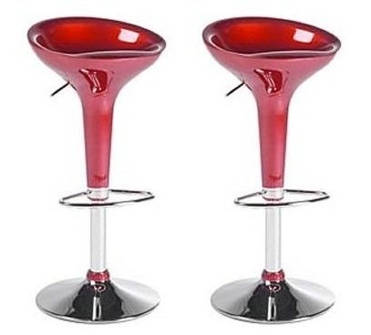 (Boraam 99230 Scoop Bar Stool, Red, Set of 2)