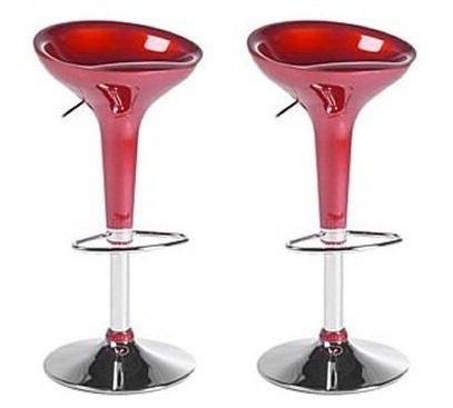 Boraam 99230 Scoop Bar Stool, Red, Set of 2 ()