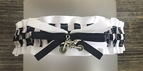 White Satin Black Checkered Flag Dirt Bike Charm Bridal Wedding Car Keepsake Garter Motorcycle