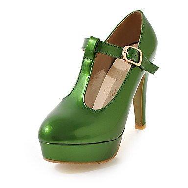 Talones de las mujeres Primavera Verano Otoño Otros zapatos del club de charol casual Cono talón hebilla Verde Rosa Blanco Orange