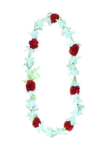 Hawaii Luau Party Artificial Fabric Tuberose Carnation Lei in White Tuberose and Red Carnation -