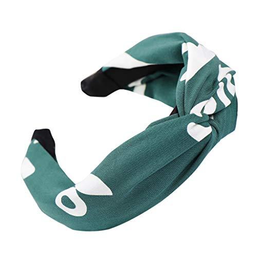 Price comparison product image BB67 Fashion Printing Bow Knot Hairband Women Hair Head Hoop Simple Sweet Girls Hair Headband (Green)