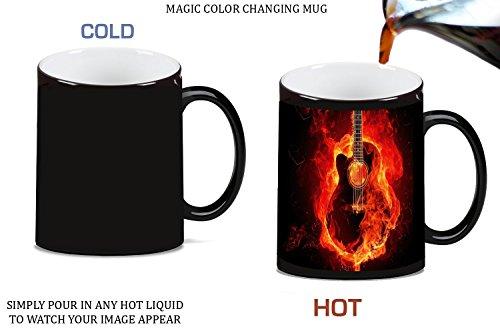 Rock Mug Music - Guitar on Fire Magic Color Changing Ceramic Coffee Mug Tea Cup by Moonlight Printing