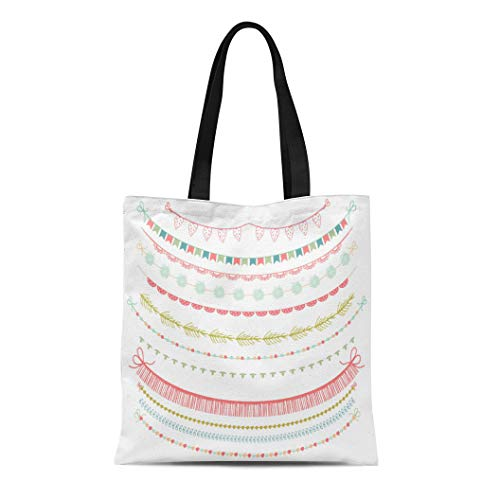Semtomn Canvas Tote Bag Shoulder Bags Blue Whimsical Garlands and Bunting Flags Clipart on White Women's Handle Shoulder Tote Shopper Handbag