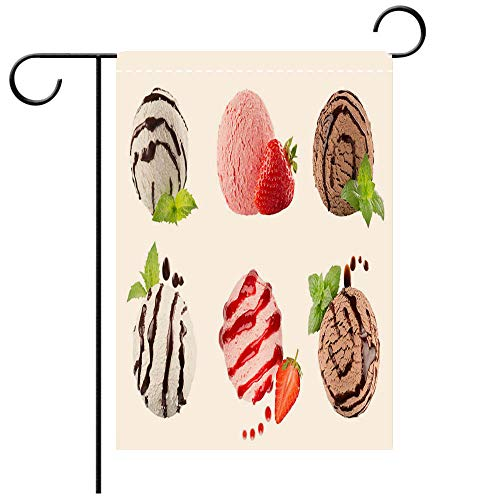 (Artistically Designed Yard Flags, Double Sided Ice cream scoops collection of six balls decorated striped chocolate sauce mint leaves Decorative Deck, patio, Porch, Balcony Backyard, Garden or Lawn)