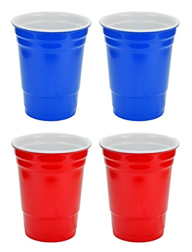 (Fairly Odd Novelties 16oz Red and Blue Cup Made Out Of Melamine 4 Pack Living It Large Drink Solo or With)