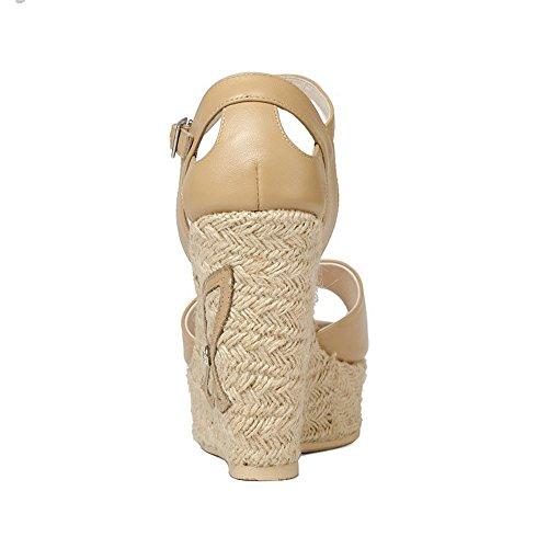 Señora Marrón Heel Wedge Adulto Tacones Verano 24 a 0cm Tamaño Cuero 22 Amarillento Heightening Ligero 5cm Altos qEAxaw4