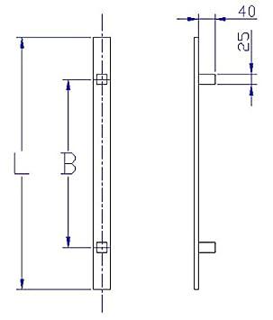 Set auf quadratischen Rosetten 841S L/änge 800 mm Flachgriff Edelstahl Haust/ür Beschlag