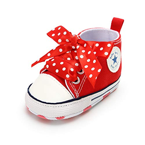 Baby Boys Girls Canvas Shoes Basic Sneakers Lace Up Infant Newborn First Walker Prewalker Shoes(0-18 Months) (12-18 Months M US Toddler, I-Red & red - Red Baby Girl