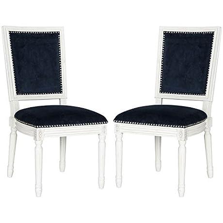 Safavieh Home Collection Buchanan Navy Velvet And Cream Side Chair Set Of 2 White