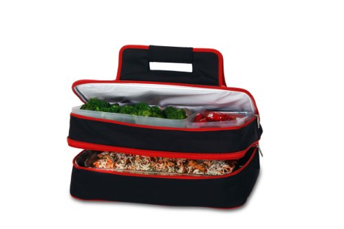 ermal Insulated Hot and Cold Pot Luck Food Carrier with Bonus Containers by Picnic Plus Black-Red ()