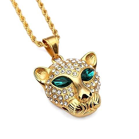 NYUK Mens Hip Hop Pendant & Chain Titanium Steel Leopard Unisex Gold Necklace (Small size)