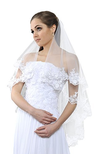 New 2 Tier Wedding Bridal Veil With Lace and Silver Thread 36'' Long (Ivory) by OssaFashion-BridalWear