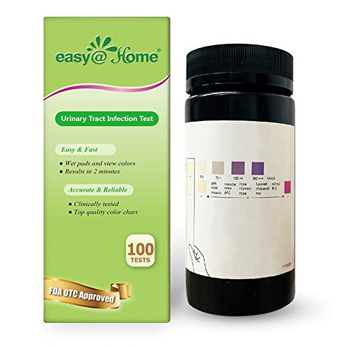 Easy@Home 100 Tests/Bottle Urinary Tract Infection UTI Test Strips, Monitor Bladder Urinary Tract Issues Testing Urine- FSA Eligible, FDA Approved for Over the Counter (OTC) USE, Urinalysis (UTI-100P) (Best Otc Pregnancy Test For Early Detection)