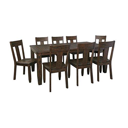 Ashley Trudell 9 Piece Dining Set in Dark Brown