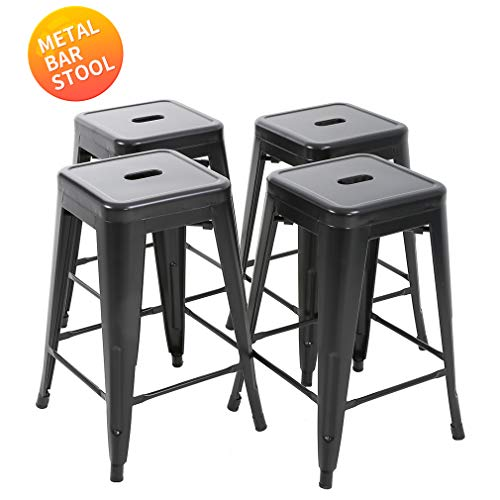"""BestMassage Bar Stools Counter Stool Barstools 24""""Height Industrial Bar Chairs Set of 4 Stackable Modern Backless Indoor/Outdoor Metal Bar Kitchen Counter Stools Chairs"""