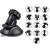 Dash Cam Mount Holder for Vehicle Video Recorder on Windshield & Dash Board Mount Stand with 13 Types Joints Adapter 360 Degree Angle View for Driving DVR Camera Camcorder GPS
