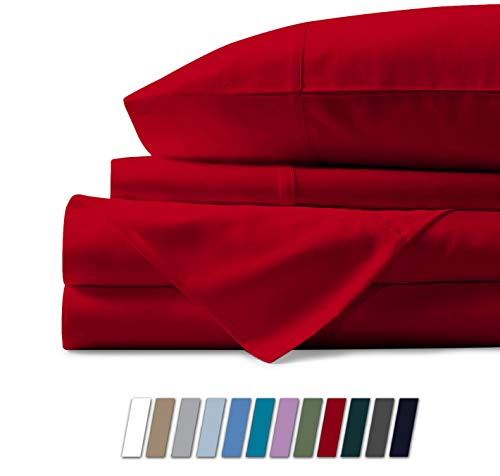 Mayfair Linen Hotel Collection 100% Egyptian Cotton 500 Thread Count 4 PcSheet Set Red Queen (Red Sheet Set Queen Cotton)