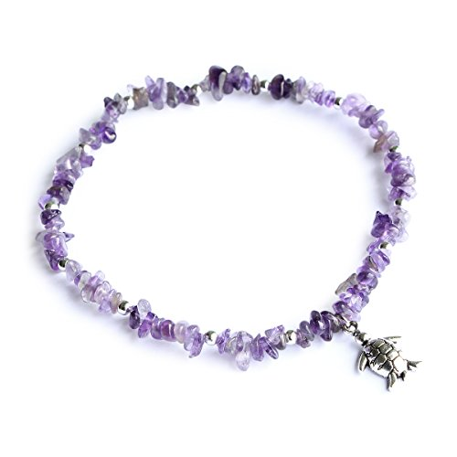 Me&Hz Amethyst Turtle Beach Ankle Bracelet Silver Stretchy Healing Crystal Beads Foot Bracelet with Charm
