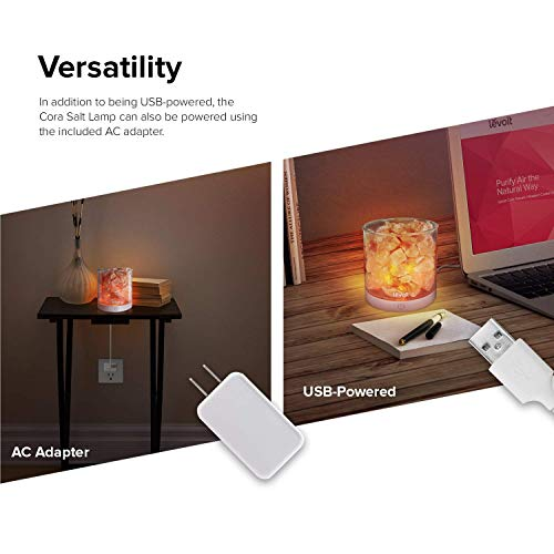 Levoit Cora Himalayan Salt Lamp, Natural Hymalain Pink Salt Rock Lamps, USB Himilian Sea Salt Crystal Night Light with Touch Dimmer Switch,3 Bulbs,UL-Listed Cord & Luxury Gift Box by LEVOIT (Image #4)