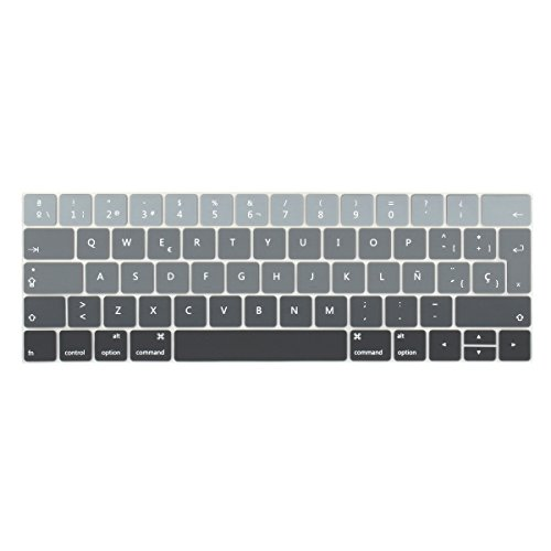 Batianda Spanish ESP Ombre Color Ultrathin Waterproof Silicone Keyboard Cover Skin for Newest MacBook Pro 13 15 inch 2016 2017 2018 with Touch Bar Model:A1706 / A1707 (Grey Gradient)