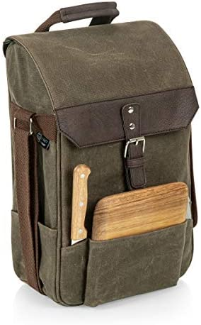 LEGACY – a Picnic Time Brand 2-Bottle Insulated Wine and Cheese Cooler Bag, Khaki Brown, One Size 540-04-140-000-0