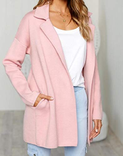Turn Outerwear with Sleeve Long Women's Collar RkBaoye Pink Woolen Mid Long Pockets Down BFwq5ZfSCx